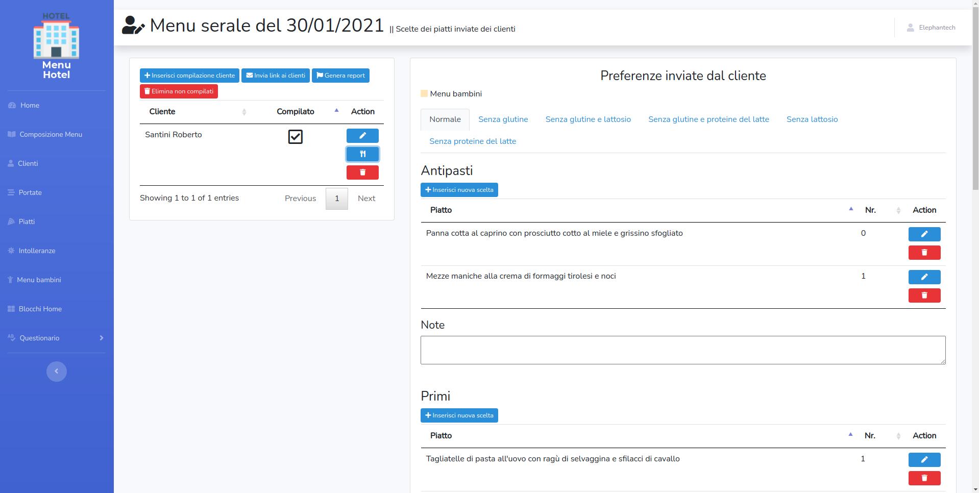Pagina dove poter consultare le preferenze inviate dal cliente ed esportare un report in Excel