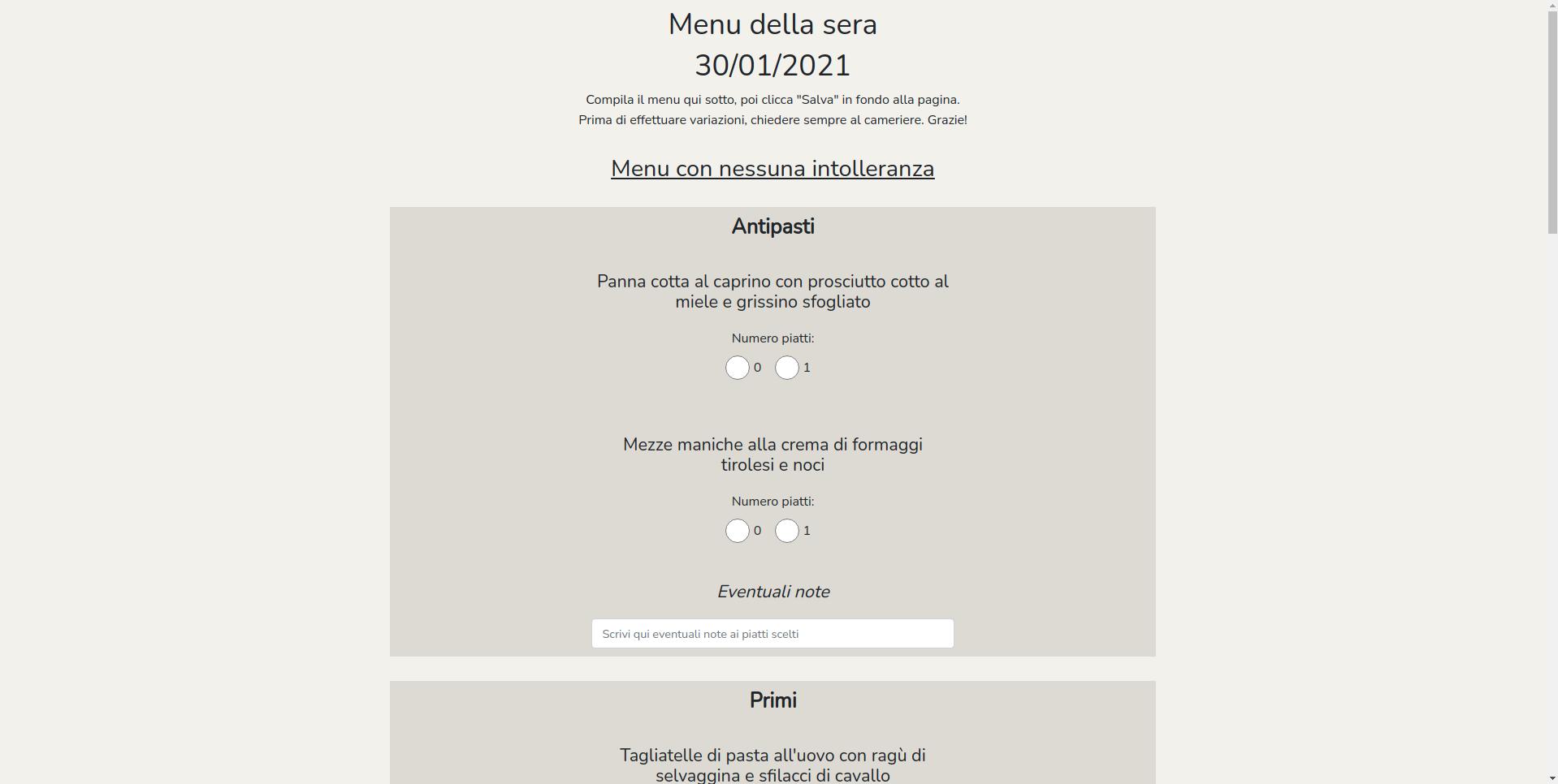 Pagina di compilazione del menu