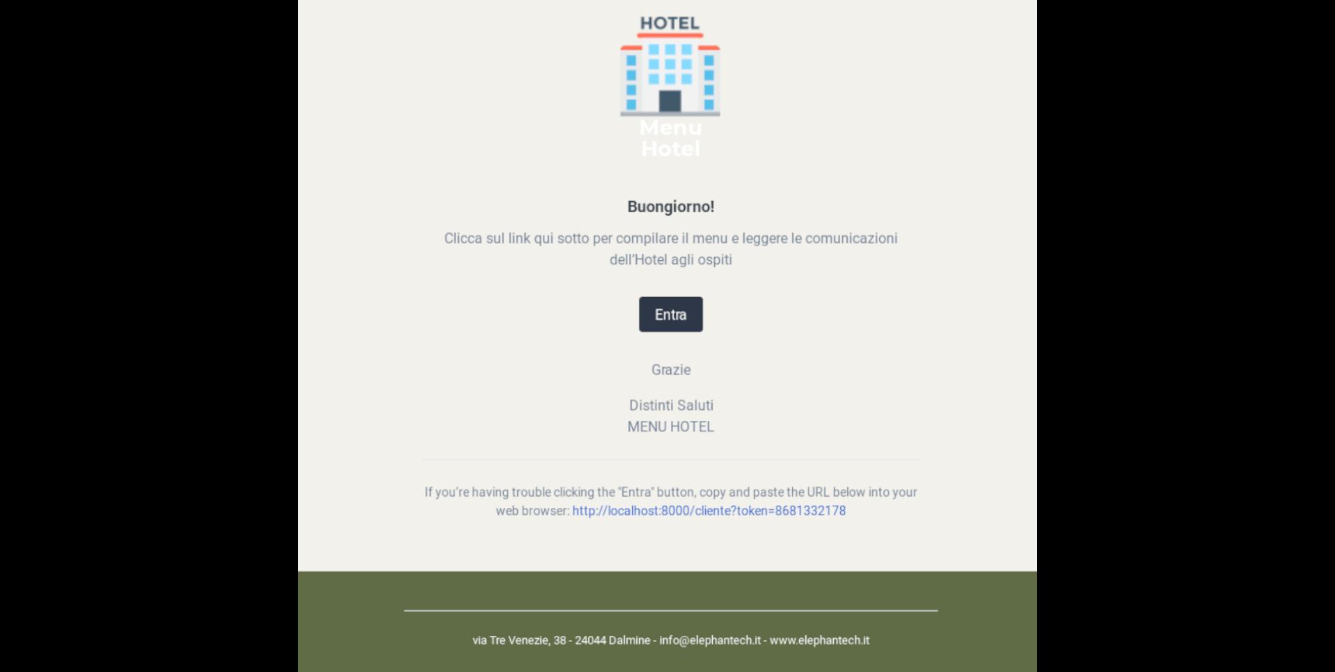 Email inviata dalla piattaforma al cliente contenente il link per la compilazione del menu