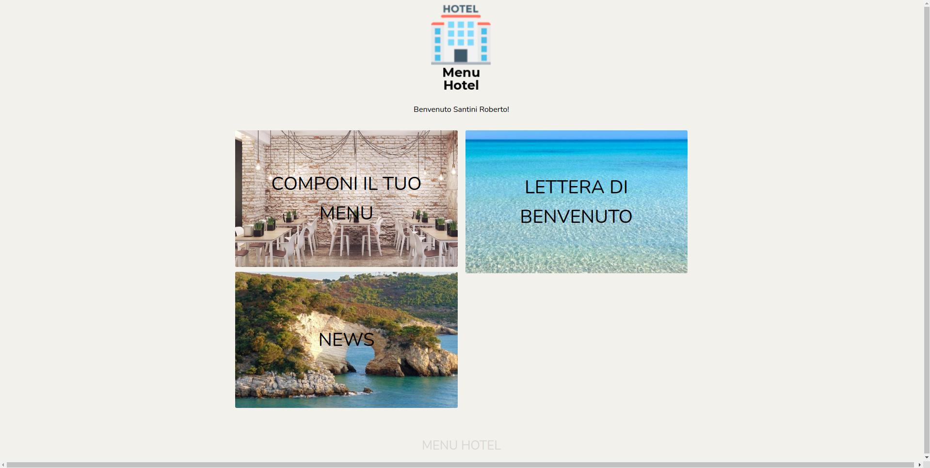 Home page dove il cliente può accedere ai servizi offerti