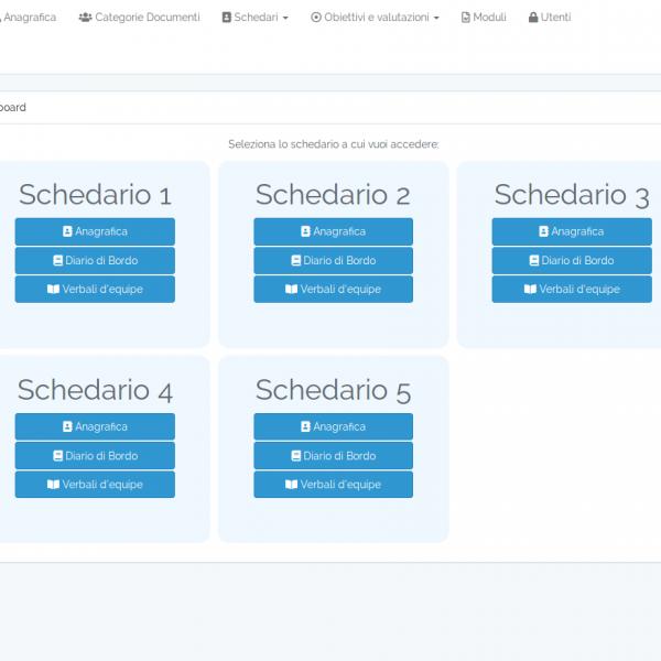 Homepage con elenco degli schedari a cui l'utente loggato può accedere.